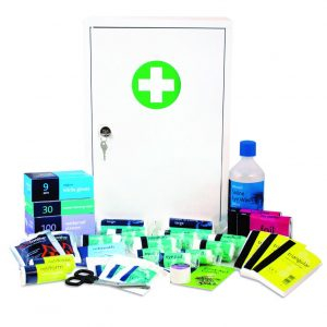 First Aid Kit in Metal Cabinet