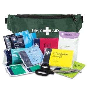 1 bum bag first aid kit should be issued to individual first aiders and other employees where appropriate to their role. e.g. first aiders, security personnel, cleaners, maintenance, etc.