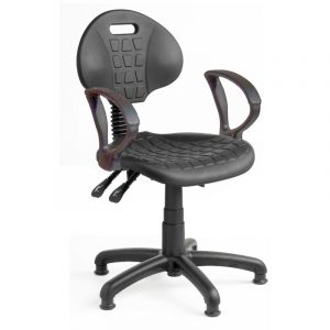 Fully ergonomic polyurethane industrial chair on glides with fixed arms