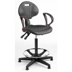 Fully ergonomic polyurethane industrial high chair on glides with fixed arms