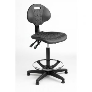 Fully ergonomic polyurethane industrial high chair on glides