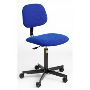 ESD Static Dissipative Gas Lift Chair on castors - Blue Fabric