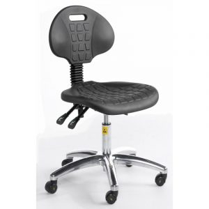 ESD Static Dissipative Gas Lift Chair on castors - Black PU