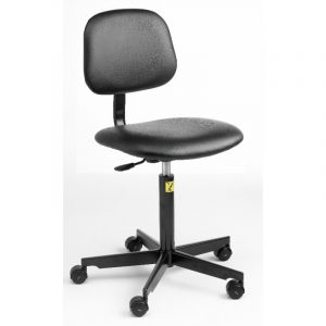 ESD Static Dissipative Gas Lift Chair on castors - Black vinyl