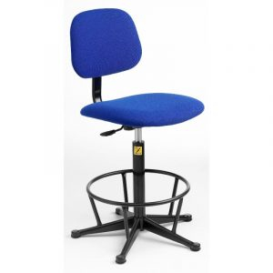 ESD Static Dissipative Gas Lift High Chair on glides - Blue Fabric