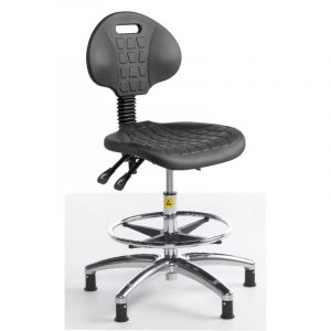 ESD Static Dissipative Gas Lift High Chair on glides - Black PU