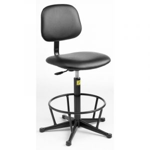 ESD Static Dissipative Gas Lift High Chair on glides - Black Vinyl