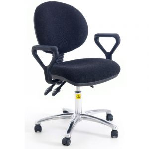 ESD Static Dissipative Gas Lift Ergonomic Chair on castors with fixed arms - Black Fabric