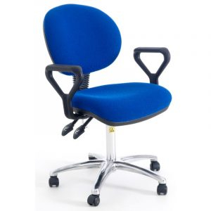 ESD Static Dissipative Gas Lift Ergonomic Chair on castors with fixed arms - Blue Fabric