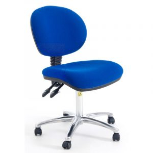 ESD Static Dissipative Gas Lift Ergonomic Chair on castors - Blue Fabric
