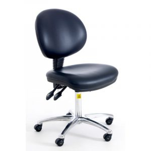 ESD Static Dissipative Gas Lift Ergonomic Chair on castors - Black Vinyl