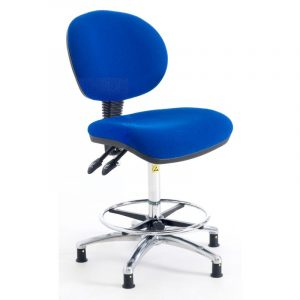 ESD Static Dissipative Gas Lift Ergonomic High Chair on castors - Blue Fabric