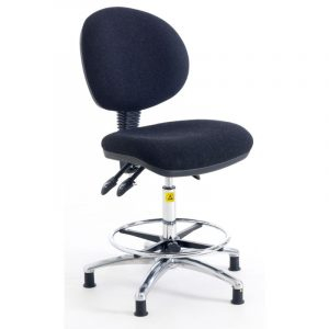 ESD Static Dissipative Gas Lift Ergonomic High Chair on castors - Charcoal Fabric