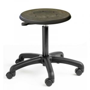 Cushioned polyurethane factory stool - Castors