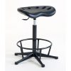 Deluxe Polyurethane Cushioned Posture / Perching Gas Lift Stool with foot ring - Glides