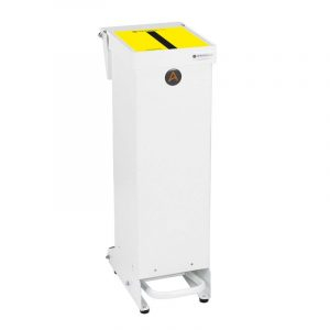 Tidy range of 25l Clinical Waste Bins Metal tiger stripe lid