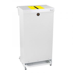 Tidy range of 80l Clinical Waste Bins Metal tiger stripe lid