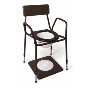 Stacking commode adjustable height